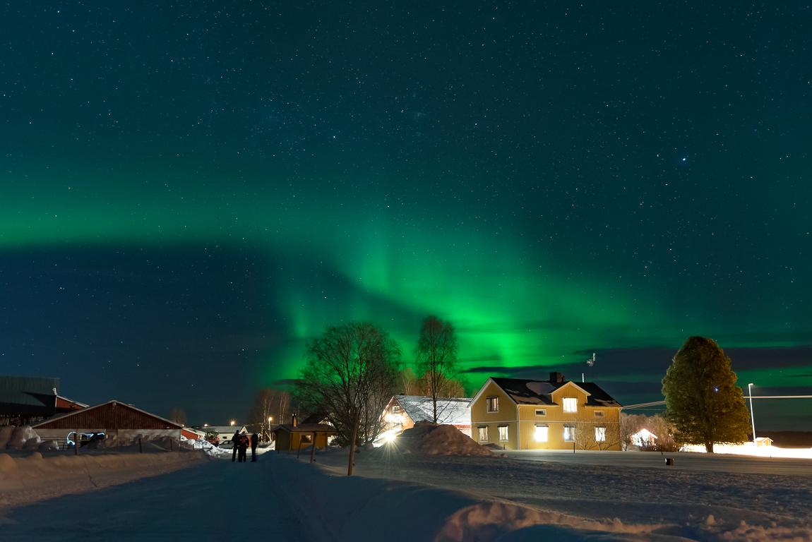 Aurora boreale nei cieli dell'Hulkoffgården, Lapponia svedese