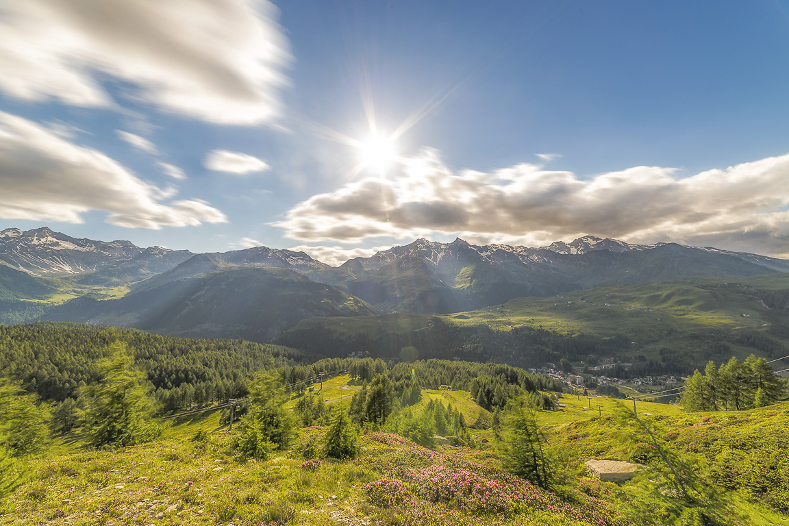 Il sole sta quasi per tramontare su Alpe Groppera