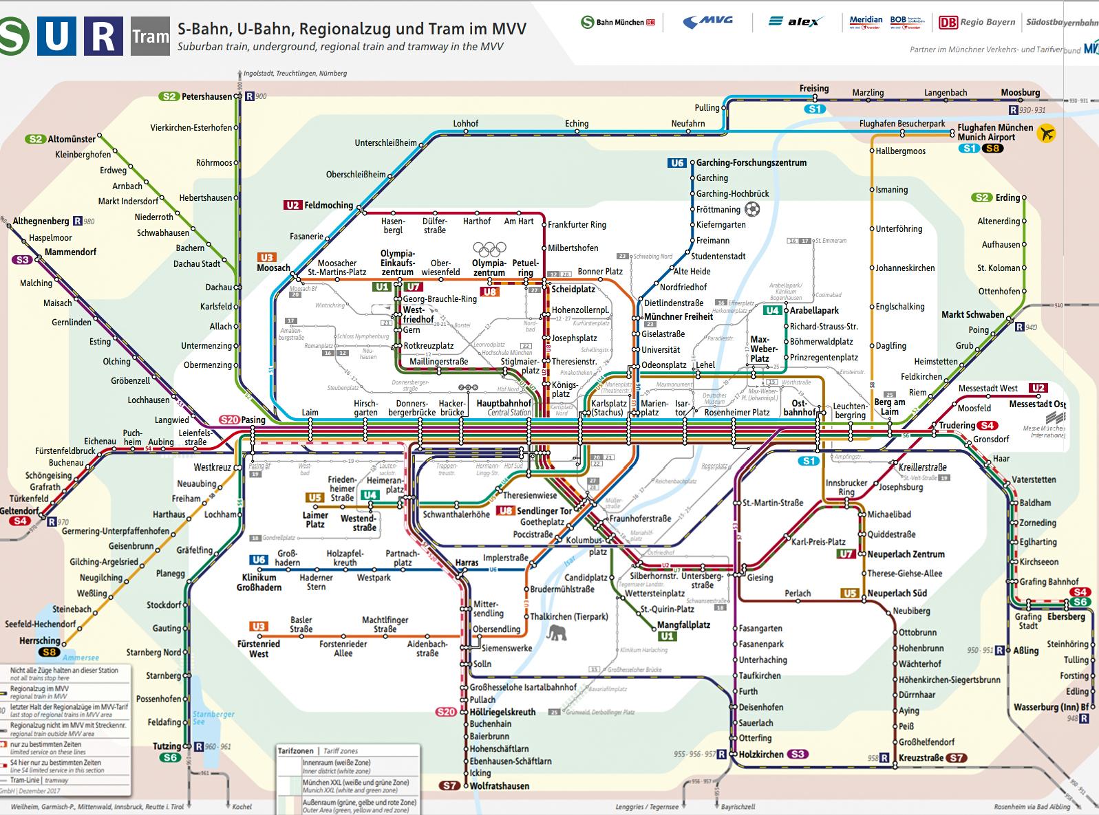 Mappa del servizio ferroviario suburbano (S) e regionale (R), delle linee della metro (U) e del tram - Monaco di Baviera