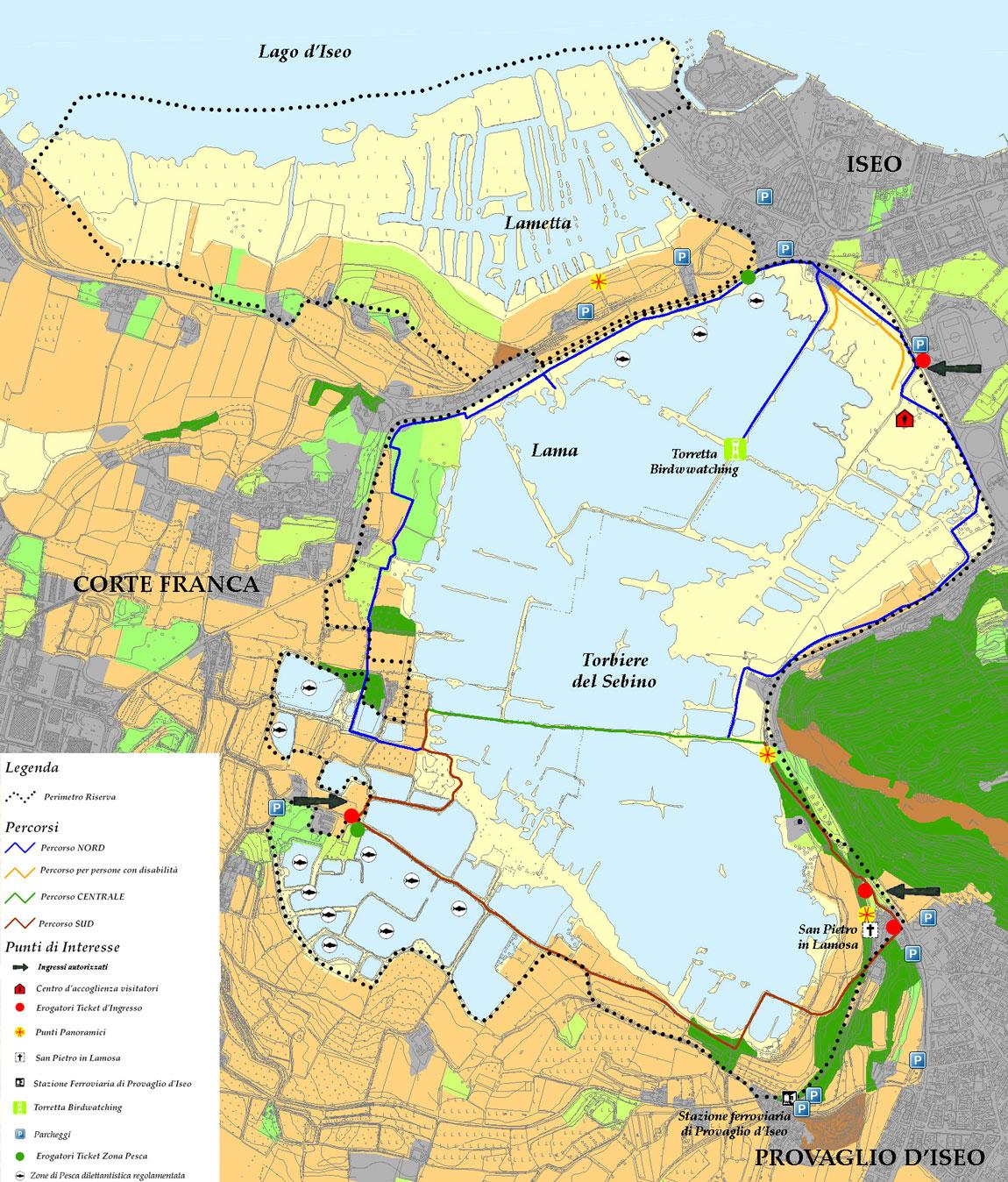 Mappa della Riserva Naturale Torbiere del Sebino