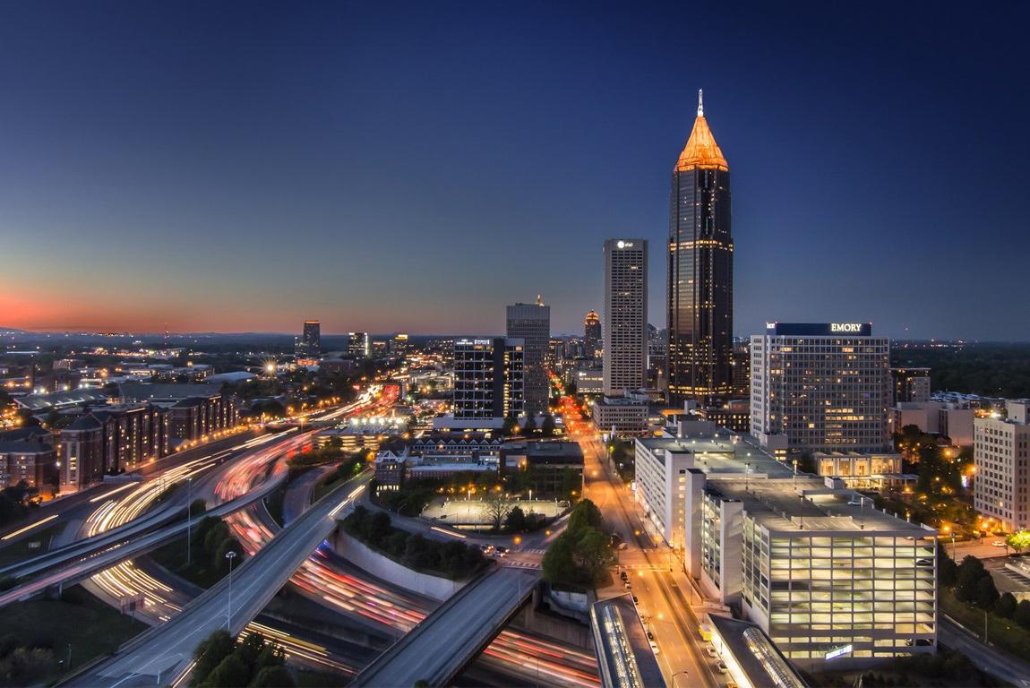 Skyline notturno di Atlanta