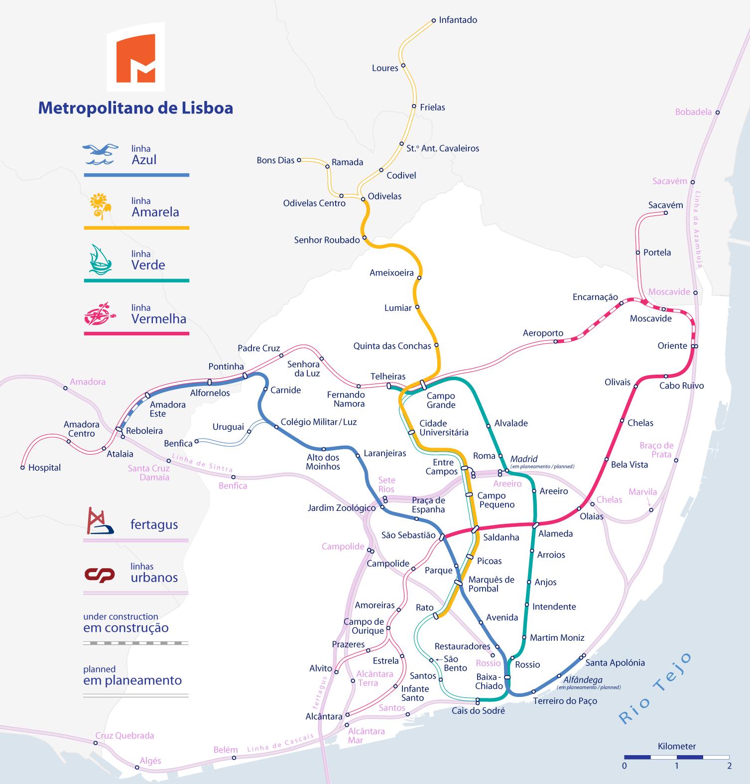 Mappa della metro di Lisbona