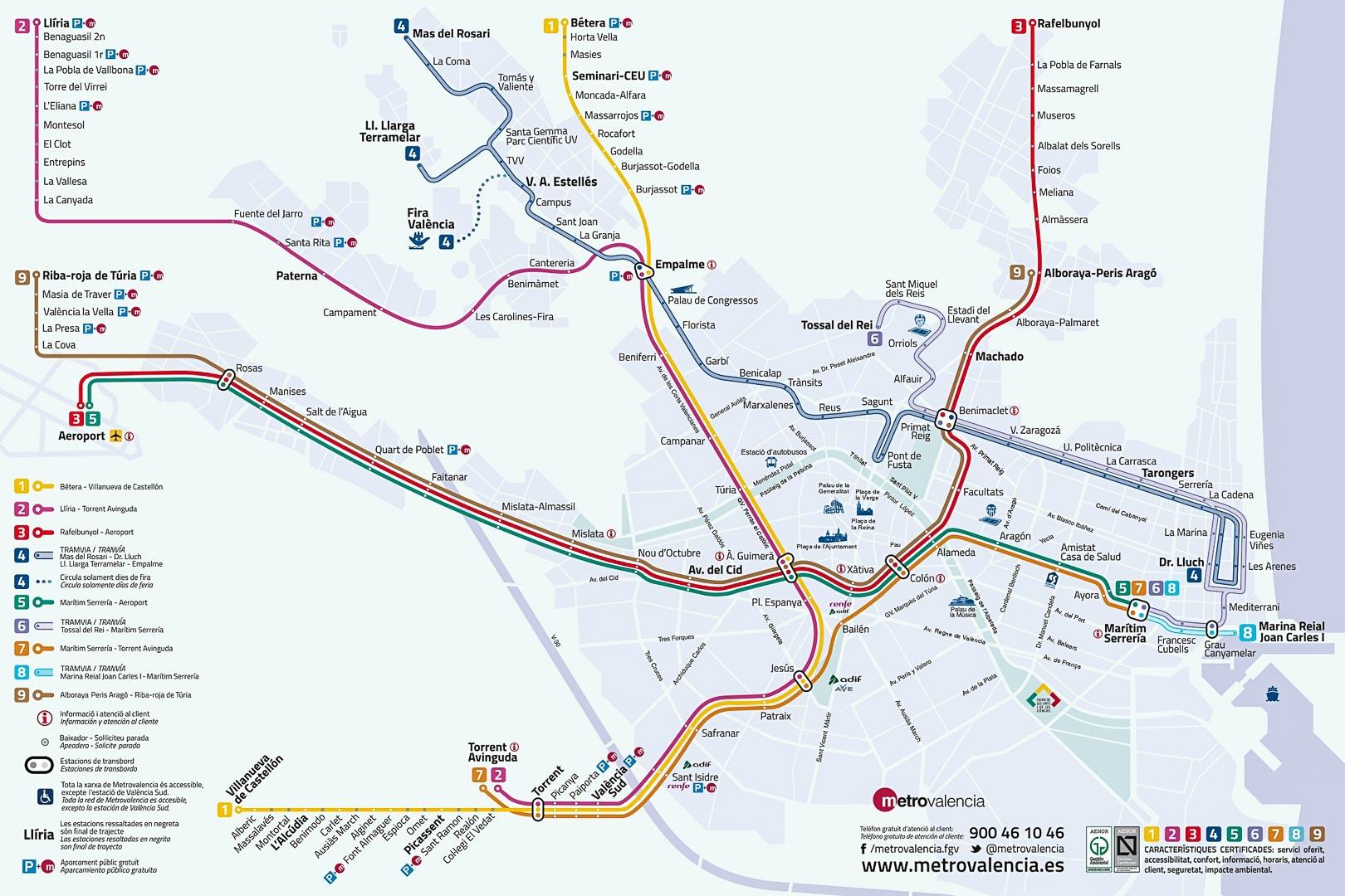 Mappa della metro di Valencia